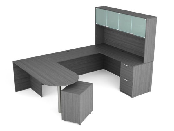 Find used KUL 71x102 d-top u-shape desk + hutch (glass doors) w 1ff and 1 bf ped (gry)s at Office Furniture Outlet