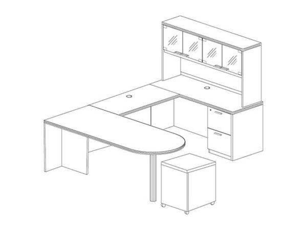 Office Furniture Outlet New 71x102 D-Top U-Shape Desk + Hutch (Glass)