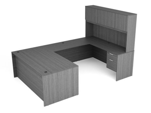 Find used KUL 71x108 u-shape desk + hutch (wood doors) w 2 bf ped (gry)s at Office Furniture Outlet