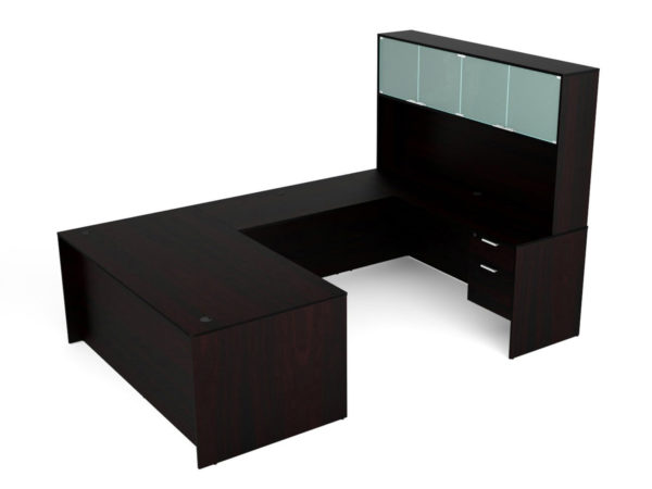Find used KUL 71x108 u-shape desk + hutch (glass doors) w 2 bf ped (esp)s at Office Furniture Outlet