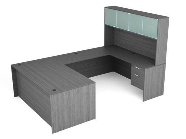 Find used KUL 71x108 u-shape desk + hutch (glass doors) w 2 bf ped (gry)s at Office Furniture Outlet