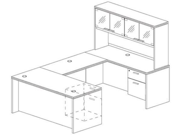 Office Furniture Outlet New 71x108 U-Shape Desk + Hutch (Glass)