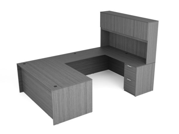 Find used KUL 71x108 u-shape desk + hutch (wood doors) w 1bbf and 1ff ped (gry)s at Office Furniture Outlet