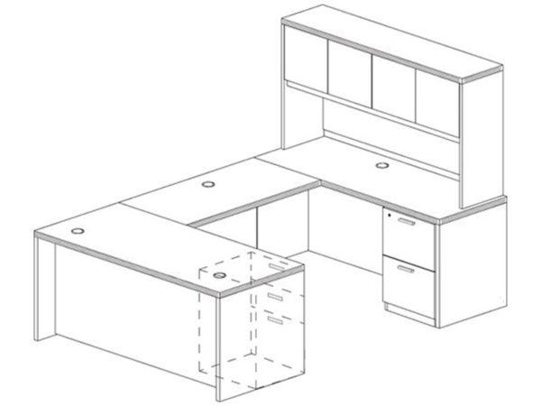 Office Furniture Outlet New 71x108 U-Shape Desk + Hutch (Wood)
