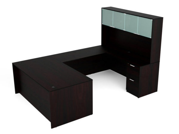 Find used KUL 71x108 u-shape desk + hutch (glass doors) w 1bbf and 1ff ped (esp)s at Office Furniture Outlet